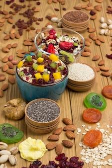 Сбалансированный завтрак с мюсли. фрукты, семена ягод, орехи