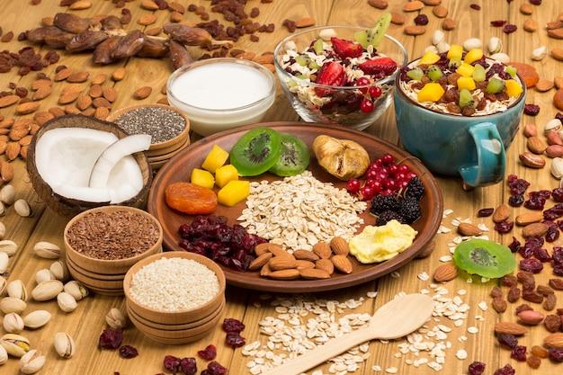 ミューズリーのバランスの取れたプロテインブレックファースト。果物、ベリーの種、ナッツ。ココナッツ飲料とヨーグルト。