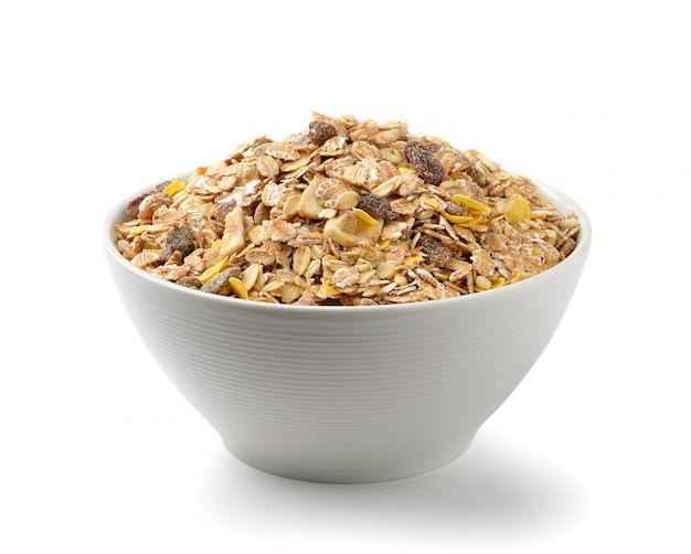 Muesli breakfast placed on white space
