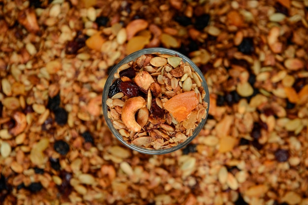 Muesli in glass. close up. from above.