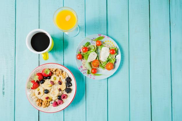 Muesli and salad