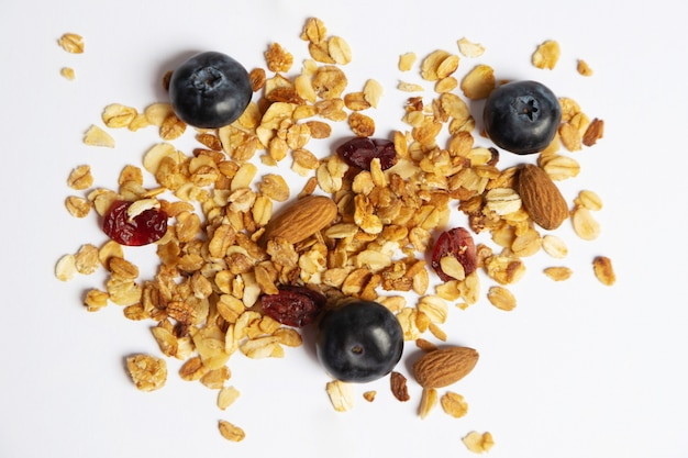 Muesli with fresh and dried berries and nuts