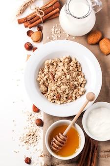 Muesli with milk and honey
