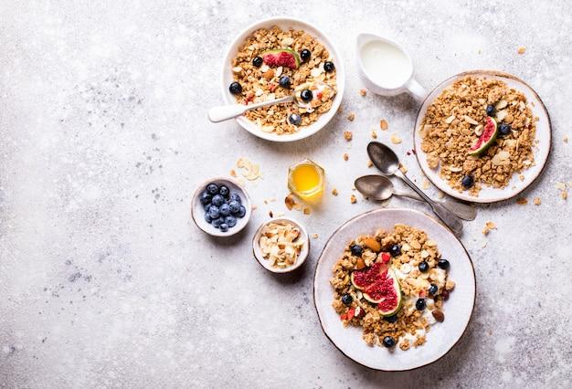 Muesli with nuts yogurt and fresh figs blueberry