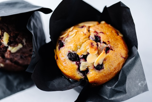Muffin filled with berries and nuts
