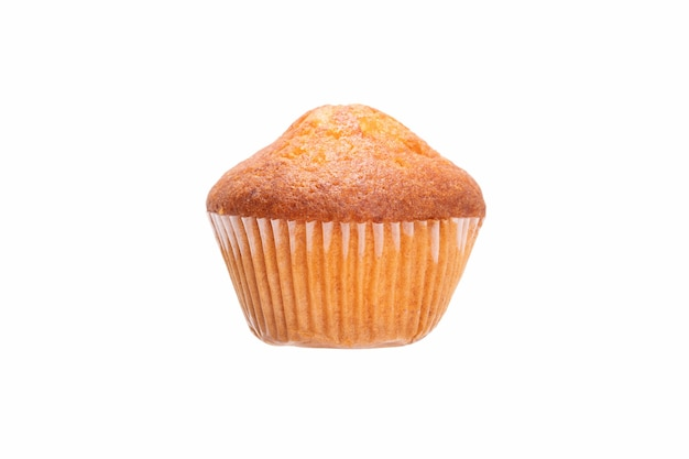 Muffin in paper packaging isolated on white background
