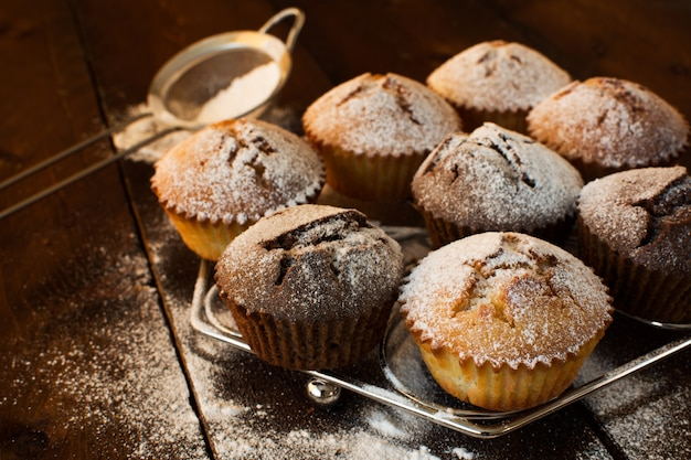 Muffins on metal stand
