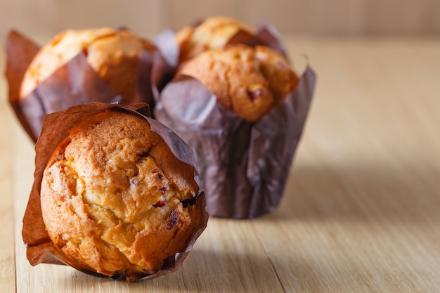 Muffins on table