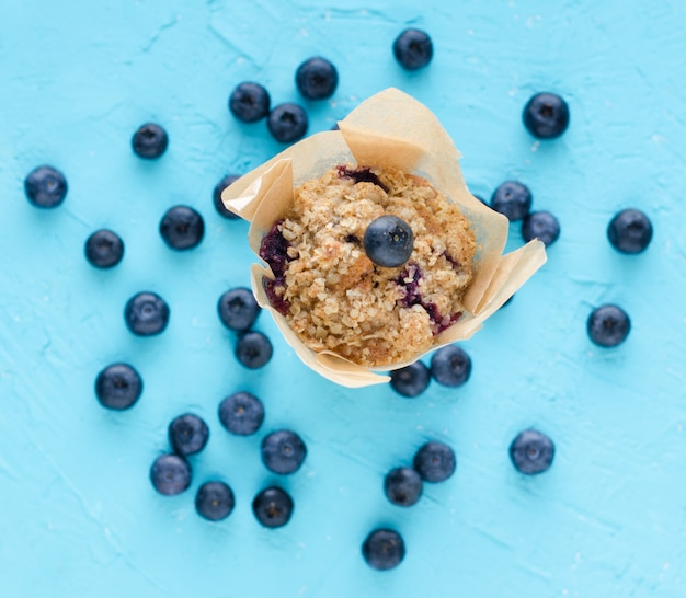 Muffins with blueberries. flat lay.