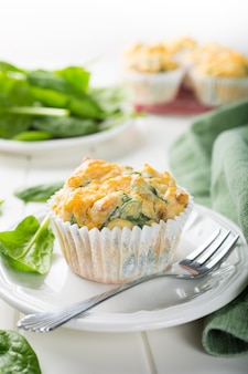 Muffins with spinach, sweet potatoes and cheese