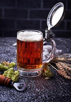 Mug of beer, hops and malt