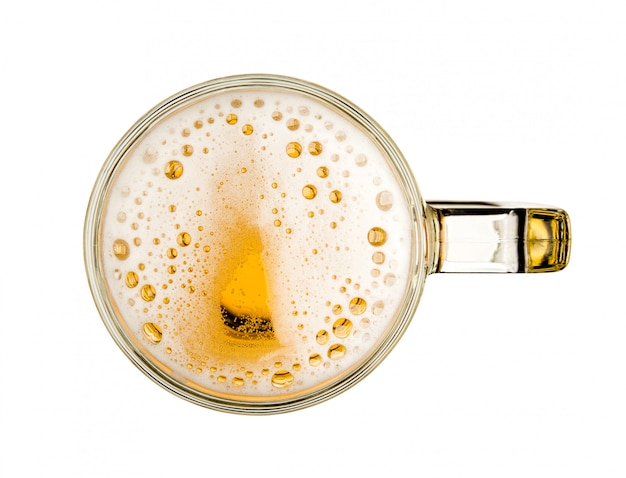 Mug of beer with bubble on glass isolated