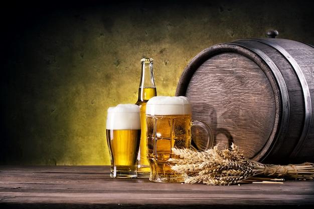 Mug and glass of light beer
