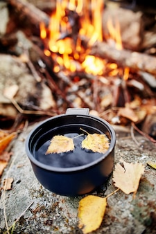 Mug of hot tea is autumn in a forest in golden yellow foliage. autumn came, magical mood. yellow leaves floating in the tea