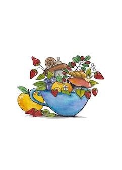 Кружка с букетом осенних ягод и грибов,