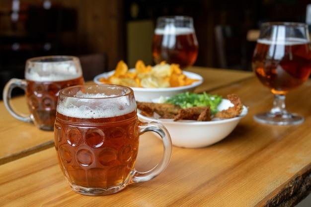 Mug with beer and beer snacks