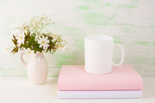 Mug  with fresh flowers