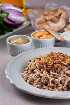 Mujaddara. rice with lentil a vegetarian dish of arabic cuisine.