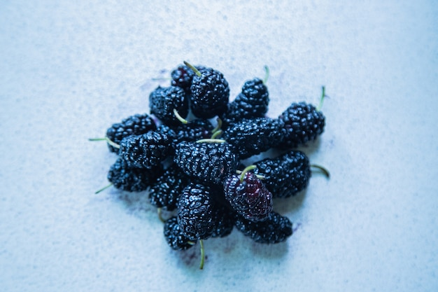 가벼운 표면에 뽕나무 또는 뽕나무 열매