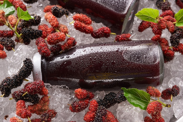 Mulberry juice with berries
