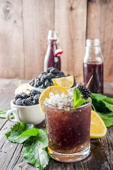 Mulberry lemonade or mojito cocktail