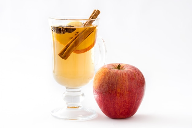 Mulled cider in glass isolated on white background top view