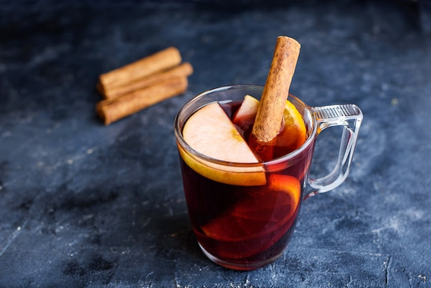 Mulled red wine with spices.