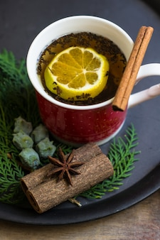 Mulled tea with spices