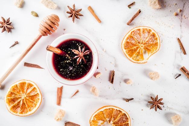 Mulled wine cocktail with spices