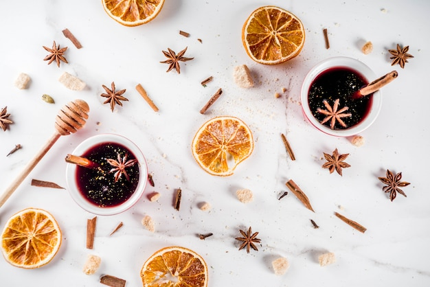 Mulled wine cocktail with wine and spices