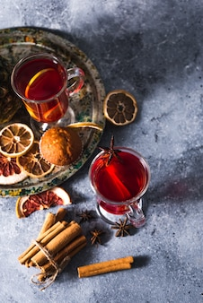 Mulled wine a delicious holiday with spices from orange cinnamon and star anise. traditional hot drink