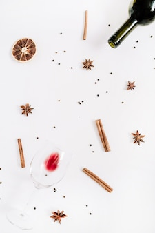 Mulled wine ingredients on white background. flat lay, top view