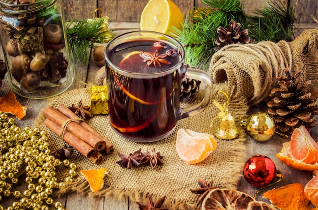 Mulled wine. selective focus. christmas drink and food.