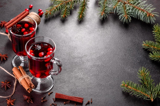 Mulled wine for winter and christmas with various spices