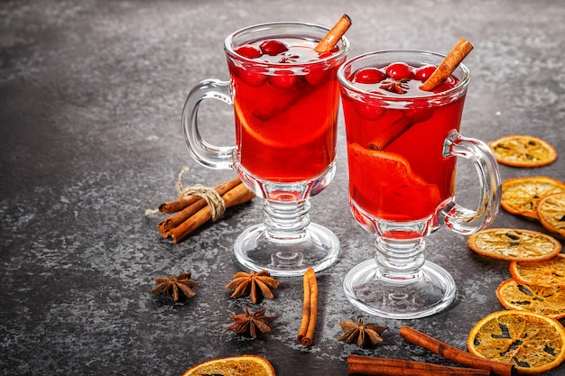 Mulled wine with cinnamon, anise, cranberries and orange.