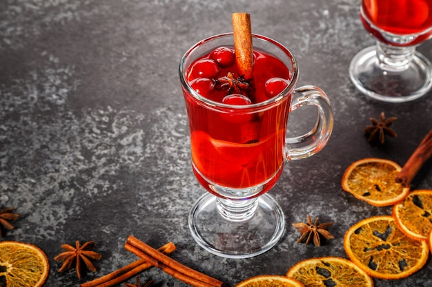 Mulled wine with cinnamon, anise, cranberries and orange