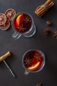 Mulled wine with cinnamon and orange. hot drink. winter. recipe.