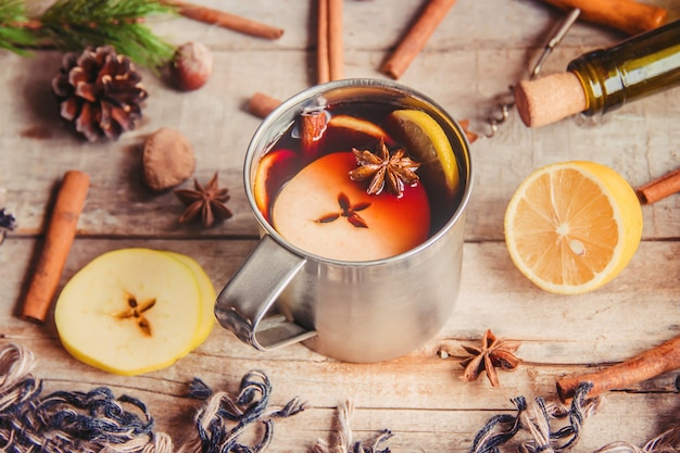 Mulled wine. with spices. selective focus. christmas.