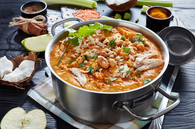 Mulligatawny soup with chicken meat