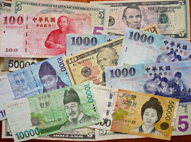 Multi banknotes of different values and currencies, paper banknotes background.