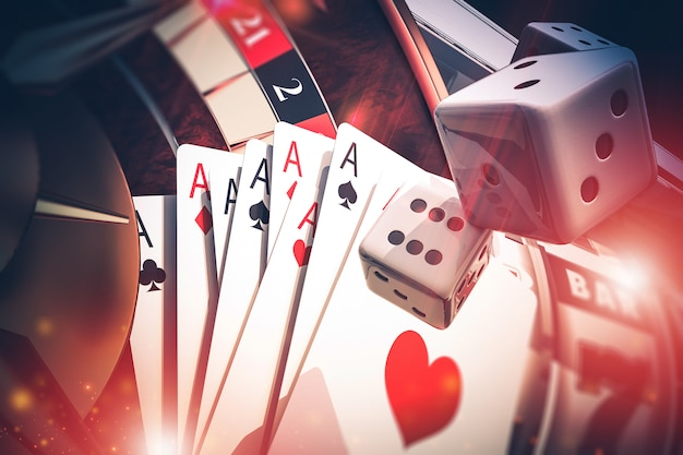 Multi casino games concept 3d render illustration