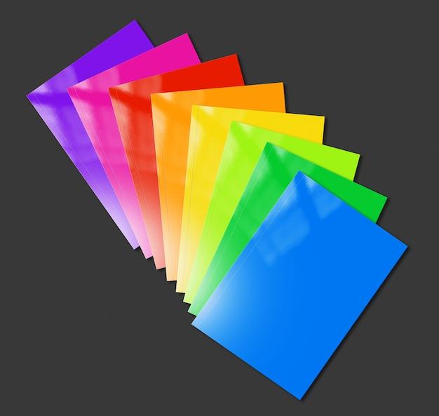 검은 색 표면에 다양한 컬러 소책자 범위