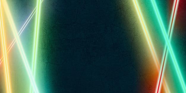 Multi color laser light shining on a black stone background 3d illustration