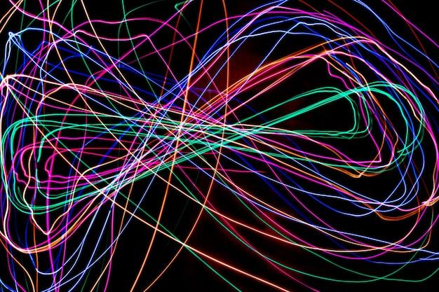 マルチカラーライトペインティング写真、夜の光のカラフルな画像