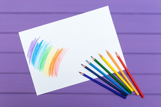 Multi-color pencil with blank white paper