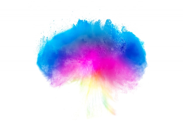 Multi color powder explosion  on white background.