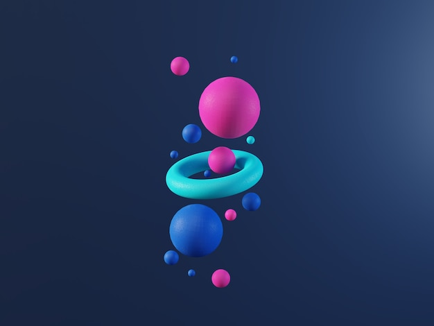 Multi colored abstract 3d render balls on dark blue background. ai, big data, cloud technology. high quality 3d illustration