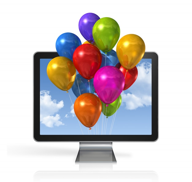 Multi colored balloons in a 3d tv screen isolated on white