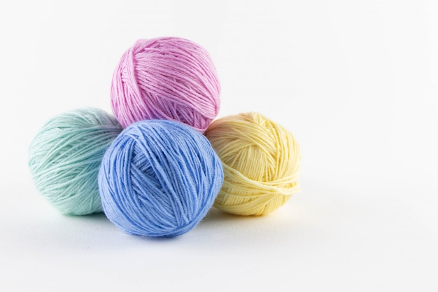 Multi-colored balls of yarn for knitting
