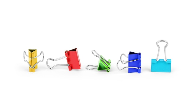 Multi-colored binders on a white background